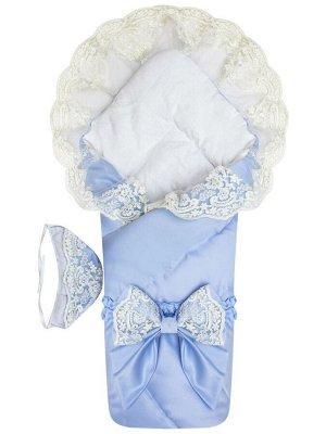 """Зимний конверт-одеяло на выписку """"Венеция"""" (голубой с молочным кружевом)"""