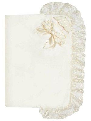 """Конверт-одеяло на выписку """"Королевский"""" (молочный с молочным кружевом)"""