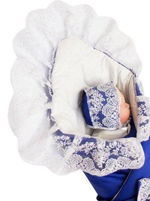 """Зимний Конверт-одеяло на выписку """"Неаполь"""" (синий с молочным кружевом)"""