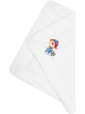 """Конверт-одеяло на выписку """"Мишка с мячиком"""" (белое, принт без кружева)"""