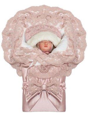 """Зимний конверт-одеяло на выписку """"Миланский"""" утренняя роза с розовым кружевом на молнии"""