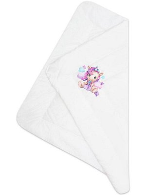"""Зимний конверт-одеяло на выписку """"Единорожка"""" (белое, принт без кружева)"""
