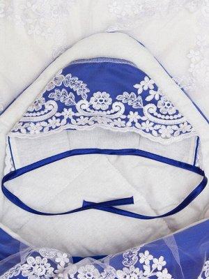 """Конверт-одеяло на выписку """"Венеция"""" (синий с белым кружевом)"""