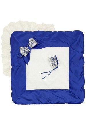 """Зимний Конверт-одеяло на выписку """"Лондон"""" (двухцветный молочно-синий с молочным кружевом)"""