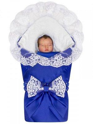 """Зимний конверт-одеяло на выписку """"Венеция"""" (синий с белым кружевом)"""