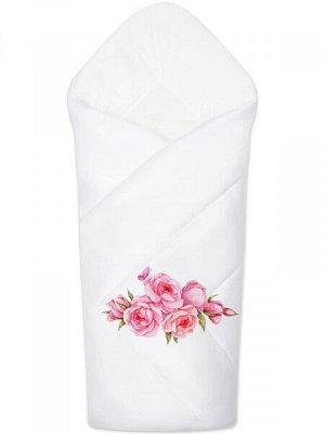 """Конверт-одеяло на выписку """"Розы"""" (белое, принт без кружева)"""