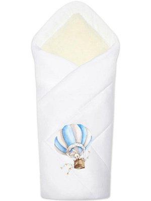 """Зимний конверт-одеяло на выписку """"Зайка на воздушном шаре"""" (белое, принт без кружева)"""