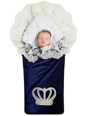 """Зимний Конверт-одеяло на выписку """"Императорский"""" (темно-синий с молочным кружевом и большой короной на липучке) без пледа"""