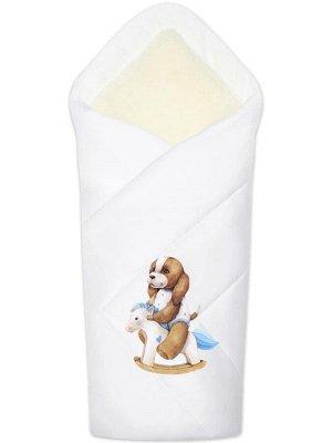 """Зимний конверт-одеяло на выписку """"Собачка на качалке"""" (белое, принт без кружева)"""