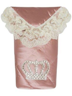 """Конверт-одеяло на выписку """"Империя"""" утренняя роза с молочным кружевом и большой короной на липучке"""