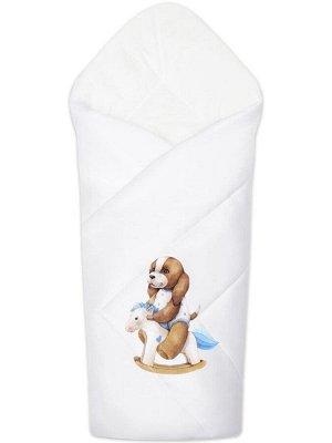 """Зимний конверт-одеяло на выписку """"Собачка на качалке"""" (белое, принт без кружева) без пледа"""