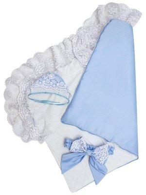 """Конверт-одеяло на выписку """"Королевский"""" (голубой с белым кружевом)"""