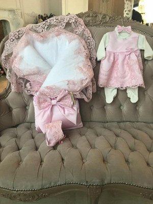 """Конверт-одеяло на выписку """"Королевский"""" (розовый с розовым кружевом)"""