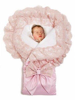 """Конверт-одеяло на выписку """"Милан"""" (розовый с розовым кружевом)"""