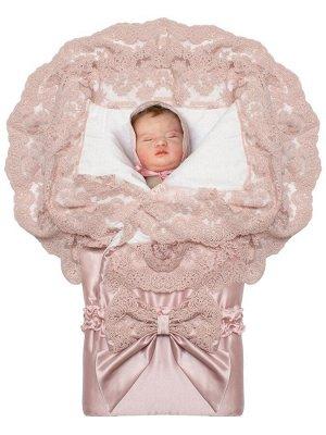 """Летний конверт-одеяло на выписку """"Миланский"""" утренняя роза с розовым кружевом на молнии"""
