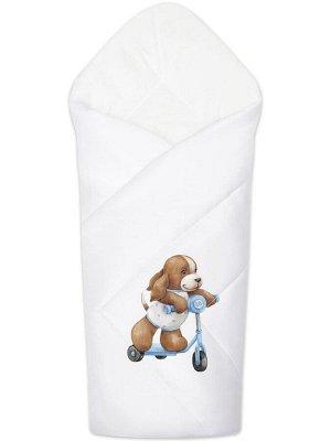 """Конверт-одеяло на выписку """"Собачка на самокате"""" (белое, принт без кружева)"""