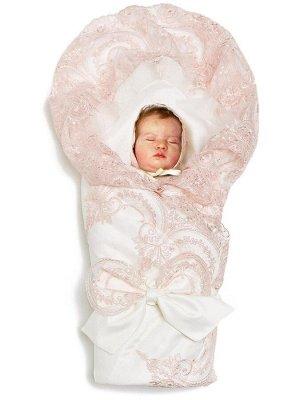 """Конверт-одеяло на выписку """"Роскошный"""" (молочный с розовым кружевом)"""