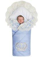 """Летний конверт-одеяло на выписку """"Империя"""" голубой с молочным кружевом и большой короной на липучке"""