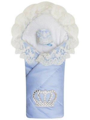 """Конверт-одеяло на выписку """"Империя"""" голубой с молочным кружевом и большой короной на липучке"""