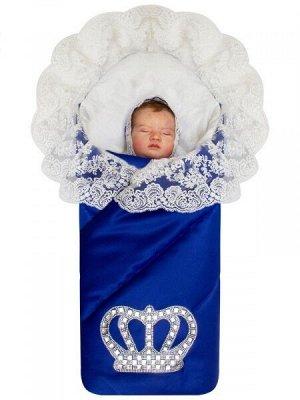"""Зимний конверт-одеяло на выписку """"Империя"""" синий с молочным кружевом и большой короной на липучке"""