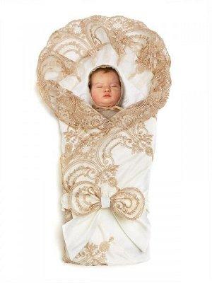 """Зимний конверт-одеяло на выписку """"Роскошный"""" (молочный с золотым кружевом)"""
