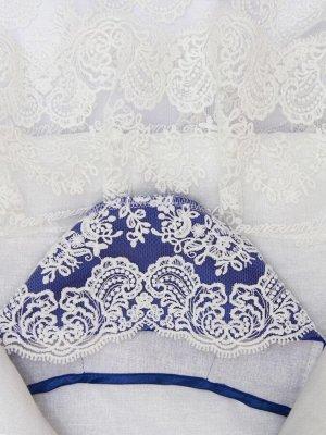 """Конверт-одеяло на выписку """"Милан"""" (синий с белым кружевом)"""
