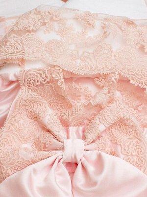 """Конверт-одеяло на выписку """"Милан"""" АТЛАС (нежно-розовый с розовым кружевом)"""