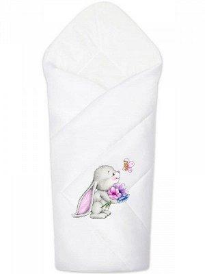"""Конверт-одеяло на выписку """"Зайчонок"""" (белое, принт без кружева)"""
