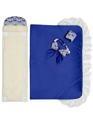 """Зимний конверт-одеяло на выписку """"Милан"""" (синий с белым кружевом)"""