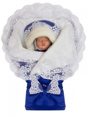 """Зимний конверт-одеяло на выписку """"Королевский"""" (синий с белым кружевом)"""