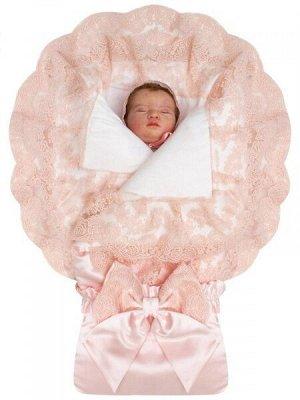 """Зимний конверт-одеяло на выписку """"Милан"""" атлас (нежно-розовый с розовым кружевом)"""