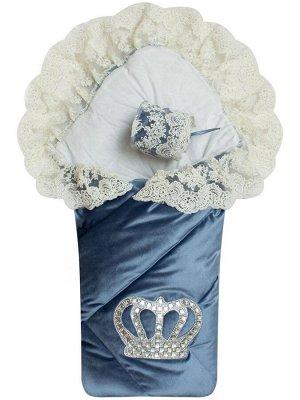 """Зимний Конверт-одеяло на выписку """"Императорский"""" (голубой с молочным кружевом и большой короной на липучке)"""