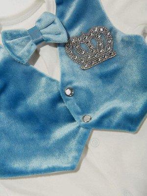 """Комплект на выписку """"Принц"""" комбинезон с голубой жилеткой (велюр), бабочкой и стразами"""