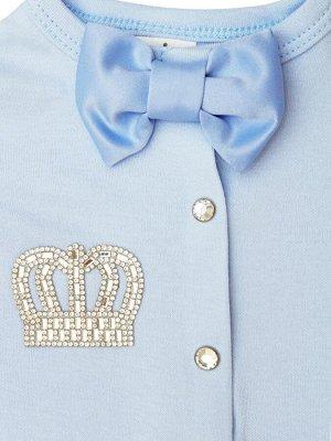 """Комплект на выписку 2 предмета """"Корона"""" голубая с голубым бантиком"""