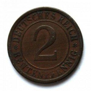 ГЕРМАНИЯ / ВЕЙМАР 2 рентенпфеннига 1924 (A)