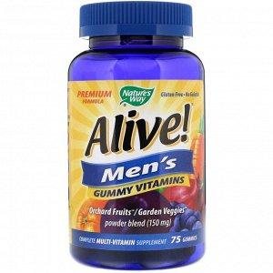 Nature's Way, Живой! Жевательный витамины для мужчин, с фруктовыми вкусами, 75 жевательных конфет