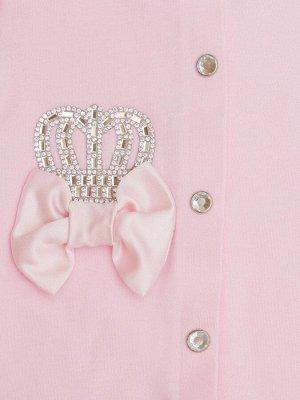 """Комплект на выписку 2 предмета """"Корона"""" розовая с розовым бантиком"""