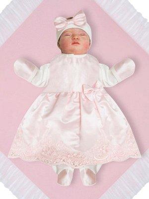 """Комплект на выписку """"Принцесса"""" АТЛАС комбинезон и платье (нежно розовое с розовым кружевом)"""