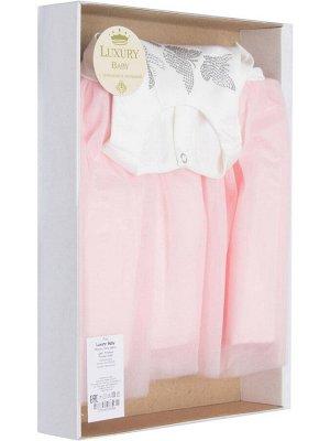 """Комплект на выписку """"Бабочка"""" комбинезон и платье (молочное с розовой юбкой)"""