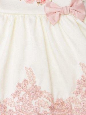 """Комплект на выписку """"Принцесса"""" комбинезон и платье РОЗЫ (молочное с розовым кружевом)"""