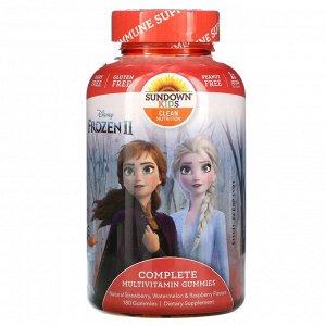Sundown Naturals Kids, Disney Frozen II, полный комплекс мультивитаминов в жевательных таблетках, со вкусом натуральной клубники, арбуза и малины, 180 жевательных мармеладок