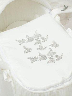 """Люлька-переноска """"Бабочка"""" (молочная с молочным фатином)"""