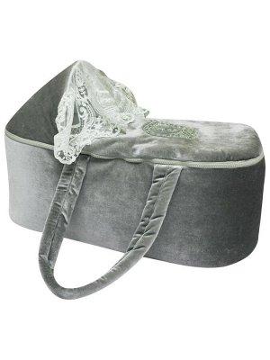 """Люлька-переноска для новорожденного """"Блюмарин"""" серый велюр"""