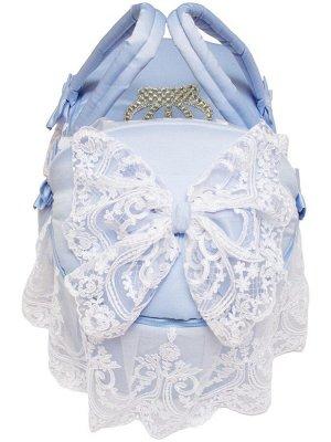 """Люлька-переноска для новорожденного """"Роскошь с бантиками"""" (голубая с белым кружевом, стразами, бантом)"""