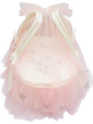 "Люлька-переноска ""Бабочка"" (молочная с розовым фатином)"