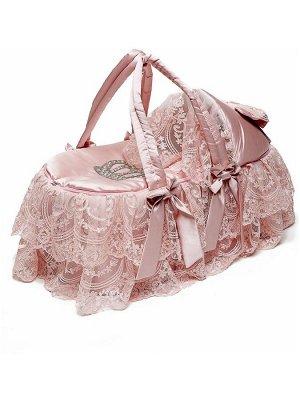 """Люлька-переноска для новорожденного """"Императрица"""" (розовая с розовым кружевом и стразами)"""