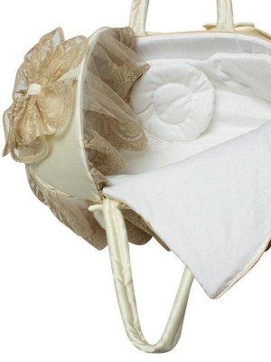 """Люлька-переноска для новорожденного """"Роскошь с бантиками"""" (молочная с золотым кружевом, стразами, бантом)"""