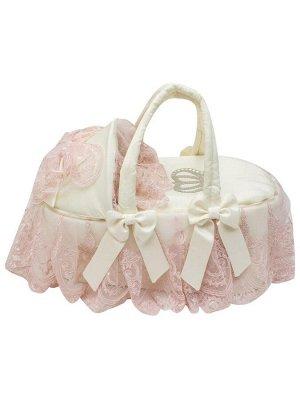 """Люлька-переноска для новорожденного """"Роскошь с бантиками"""" (молочная с розовым кружевом, стразами, бантом)"""