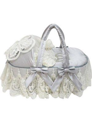 """Люлька-переноска для новорожденного """"Роскошь с бантиками"""" (серая АТЛАС с белым кружевом, стразами, бантом)"""