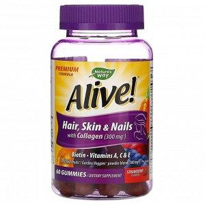 Nature's Way, Alive! Для волос, кожи и ногтей; содержит коллаген; вкус клубники, 60 жевательных конфет